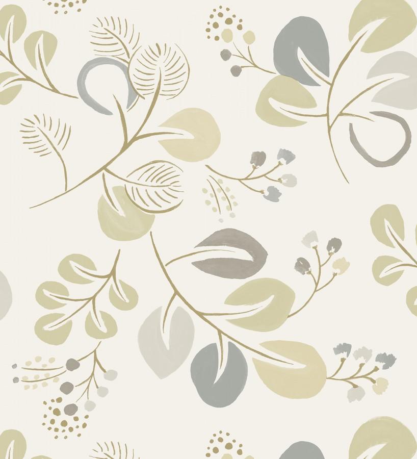 Papel pintado hojas estilo nórdico tonos beige Blossom Hall 679418