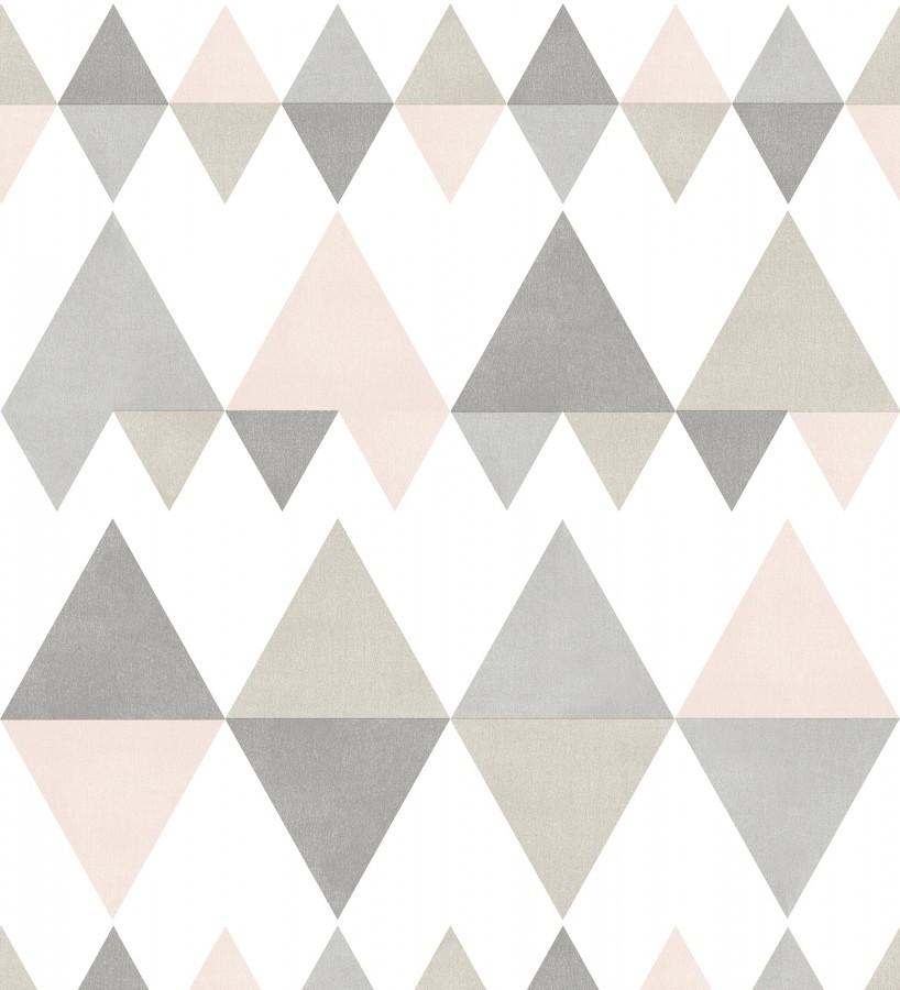 Papel pintado rombos y triángulos estilo nórdico tonos rosa y gris Hans Metrix 679420