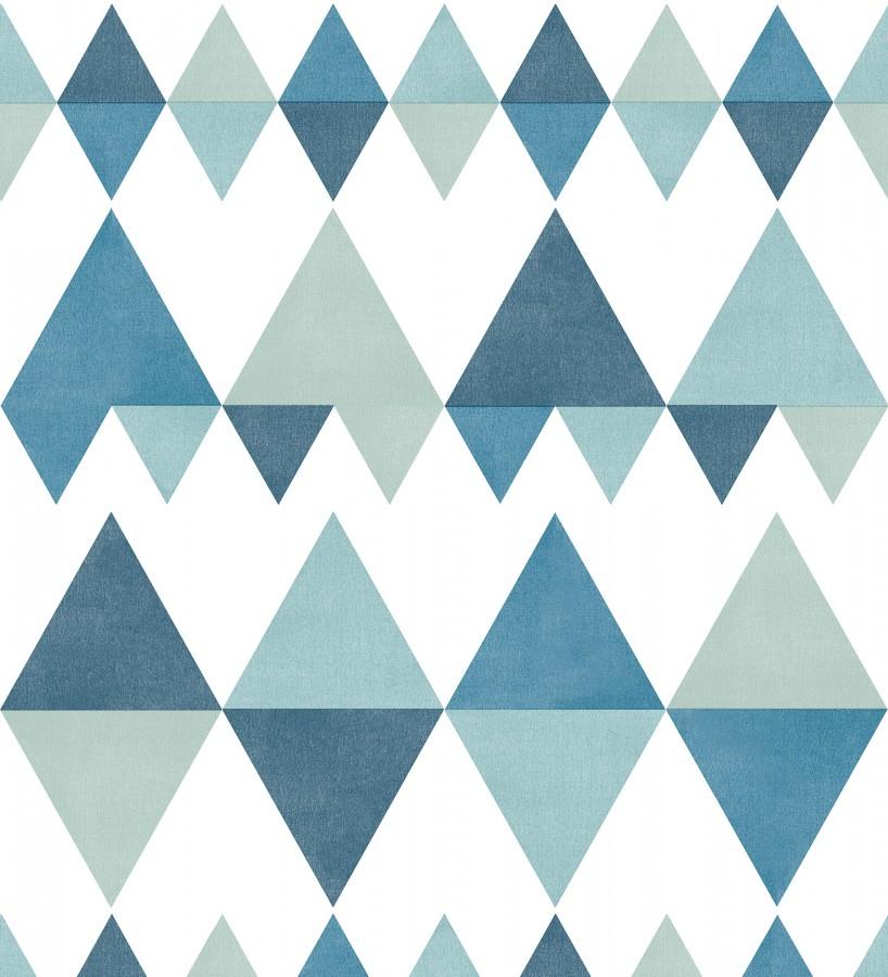 Papel pintado rombos y triángulos estilo nórdico tonos azules y turquesas Hans Metrix 679421
