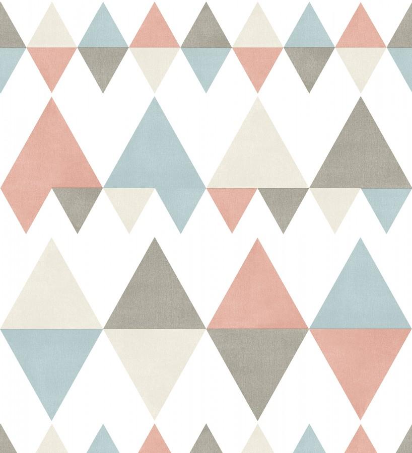 Papel pintado rombos y triángulos estilo nórdico tonos coral, celeste y gris Hans Metrix 679423