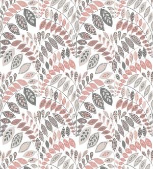 Papel pintado ramillete de hojas estilo nórdico tonos rosa palo y gris Sandy Springs 679433