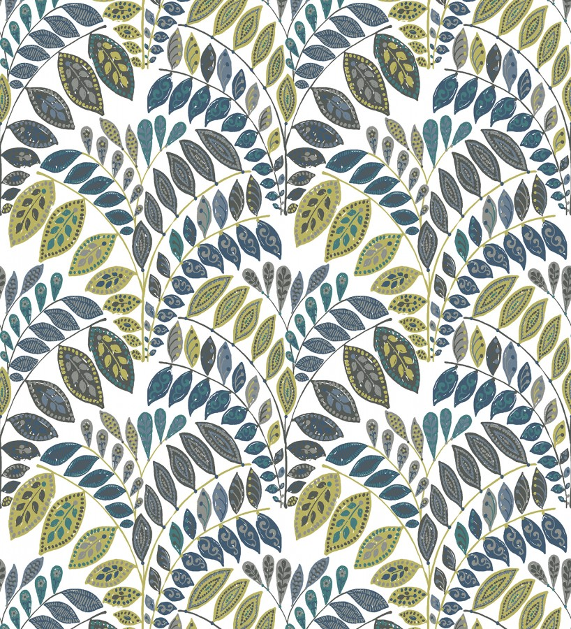 Papel pintado ramillete de hojas estilo nórdico tonos verde y gris oscuro Sandy Springs 679434