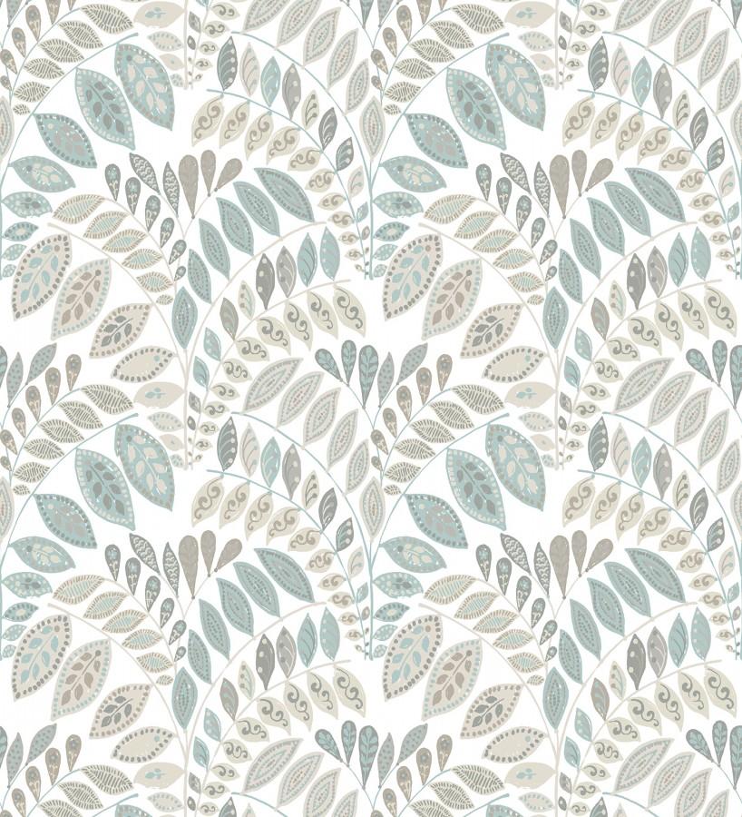 Papel pintado ramillete de hojas estilo nórdico tonos celeste y gris Sandy Springs 679435
