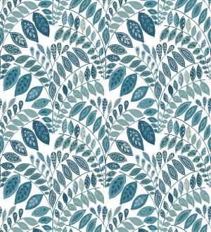 Papel pintado ramillete de hojas estilo nórdico tonos azules y turquesas Sandy Springs 679436