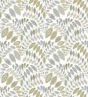 Papel pintado ramillete de hojas estilo nórdico tonos beige y grises Sandy Springs 679437