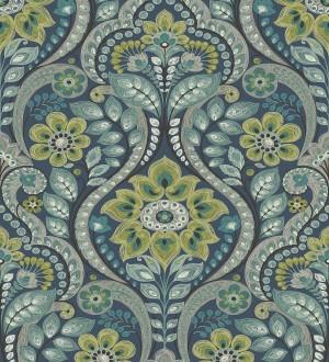 Papel pintado damasco floral moderno estilo hindú Regency Damask 679445