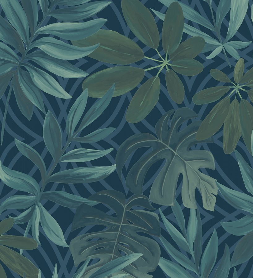 Papel pintado hojas grandes de monstera turquesa tropical Palm Springs 679452