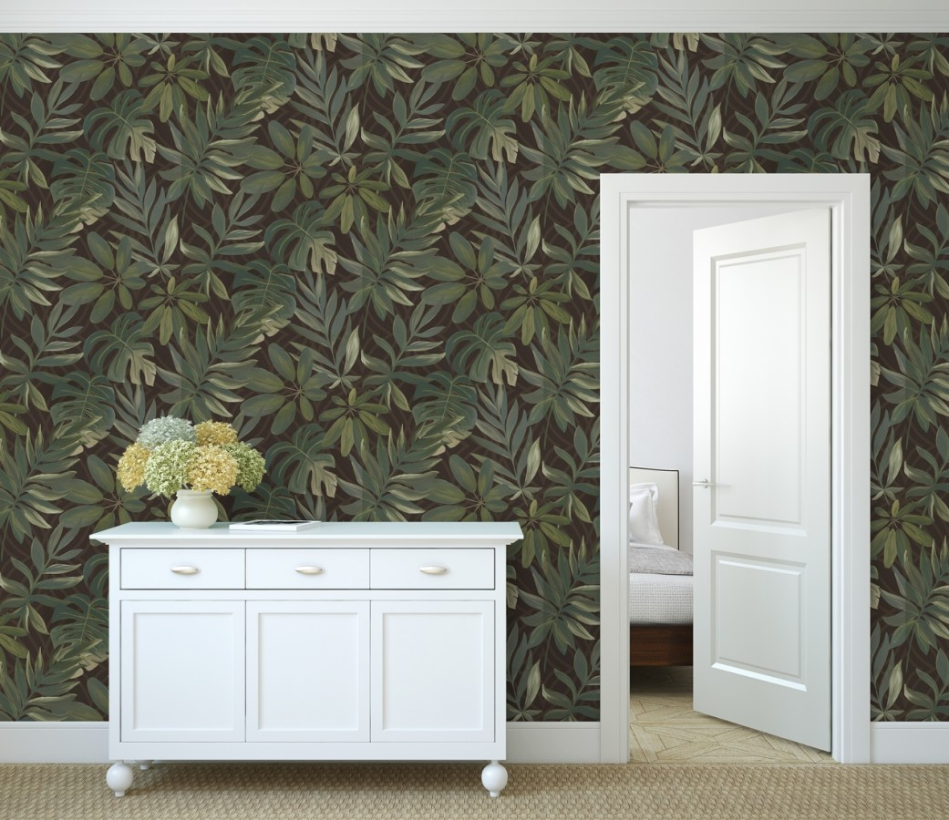Papel pintado hojas grandes de monstera verde y marrón tropical Palm Springs 679453