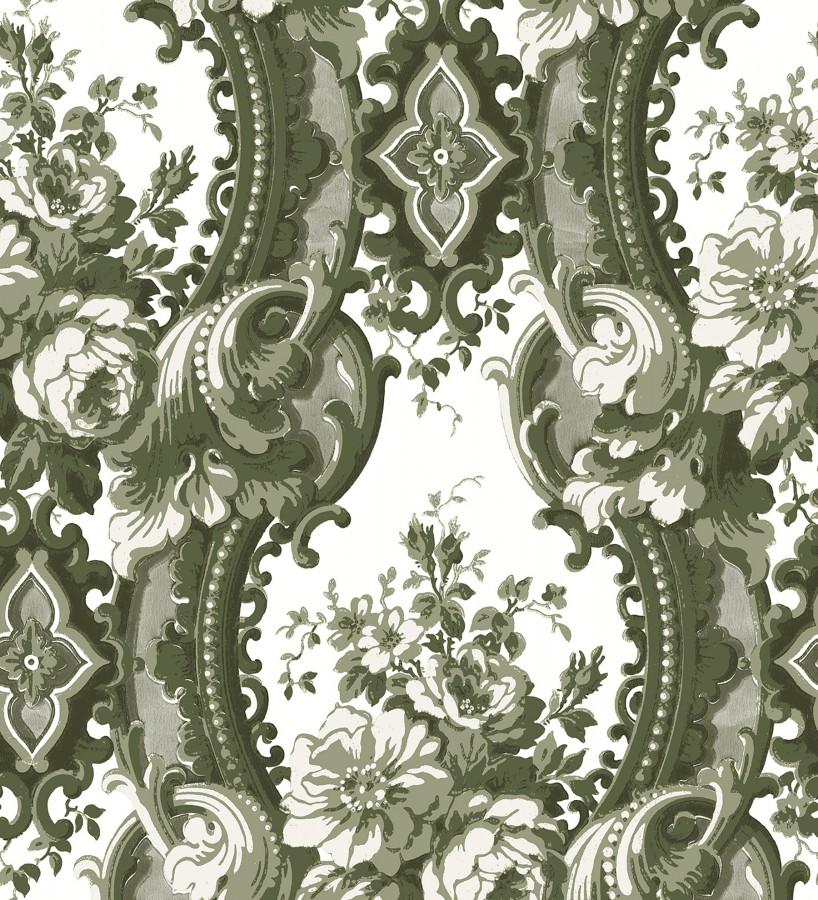 Papel pintado con flores enmarcadas en arcos con volutas estilo inglés tonos verdes York House 679466