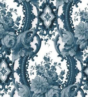 Papel pintado con flores enmarcadas en arcos con volutas estilo inglés tonos azules York House 679467