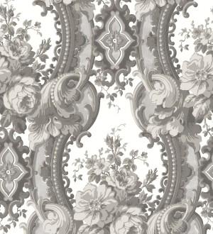 Papel pintado con flores enmarcadas en arcos con volutas estilo inglés tonos grises York House 679468
