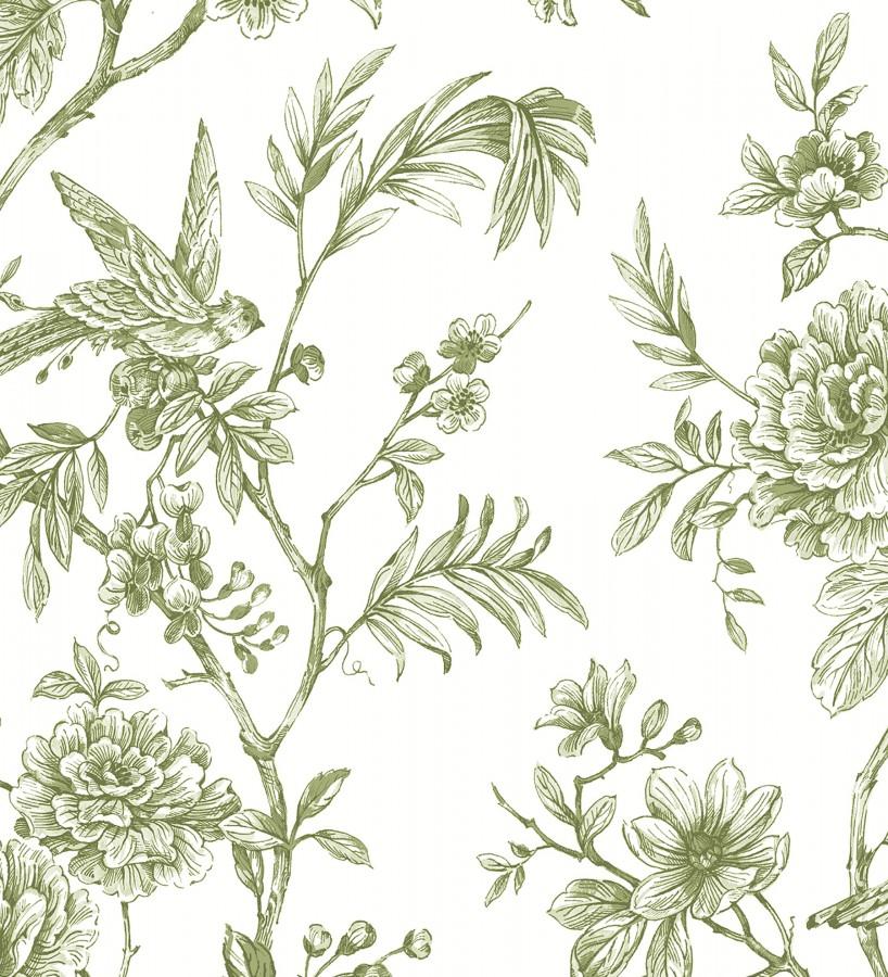 Papel pintado pájaros y hojas dibujado a carboncillo La Bohème 679485