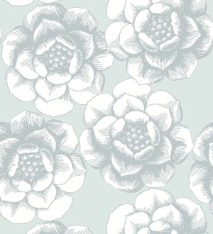 Papel pintado flores grandes estilo nórdico Magnolia 679491