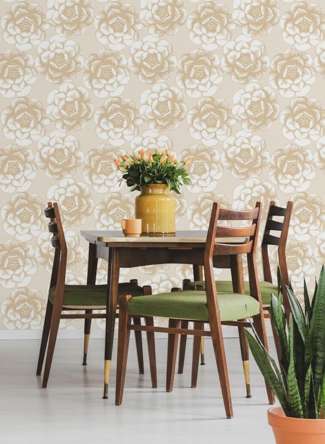 Papel pintado flores grandes estilo nórdico Magnolia 679492