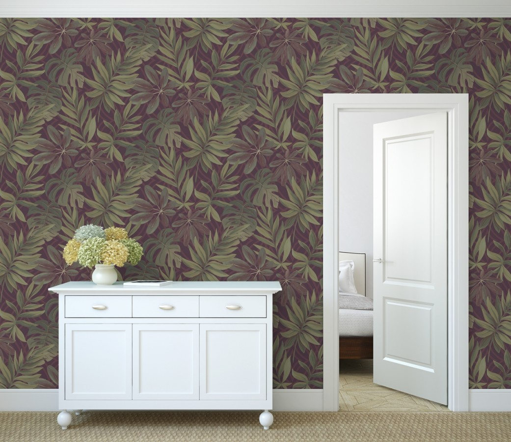 Papel pintado hojas grandes de monstera rojizo tropical Palm Springs 679494