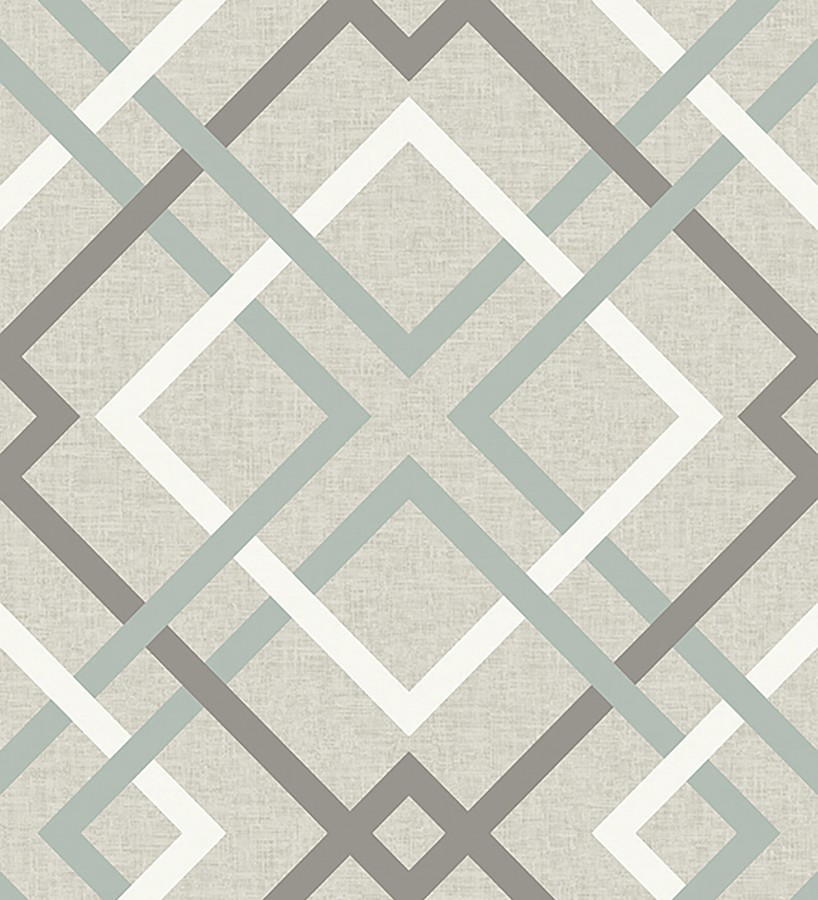 Papel pintado geométrico cuadros entrelazados estilo nórdico tonos grises Copenhagen 679509