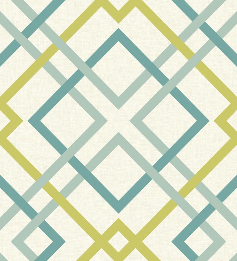 Papel pintado geométrico cuadros entrelazados estilo nórdico tonos tropicales Copenhagen 679510
