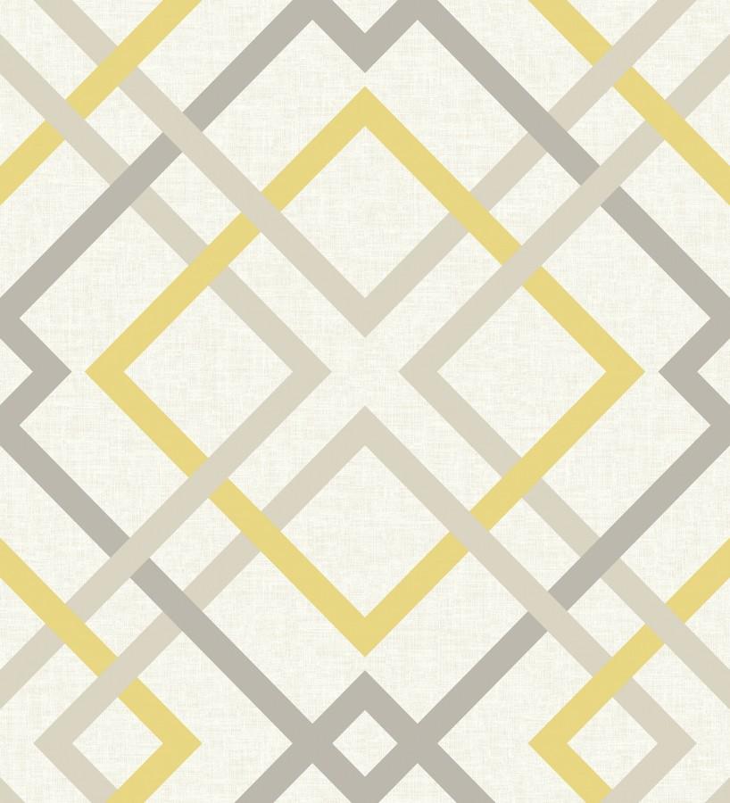 Papel pintado geométrico cuadros entrelazados estilo nórdico tonos amarillos Copenhagen 679511