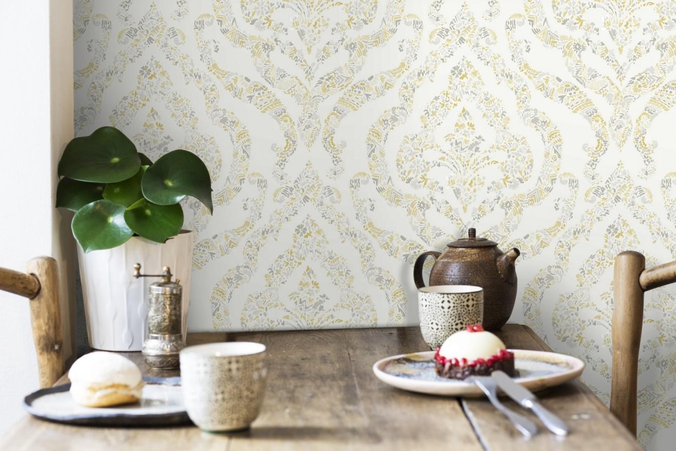 Papel pintado damasco moderno estilo inglés Spring hall 679519