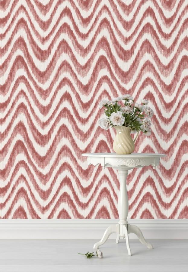 Papel pintado de ondas con degradados tonos coral tropical Aloha 679523