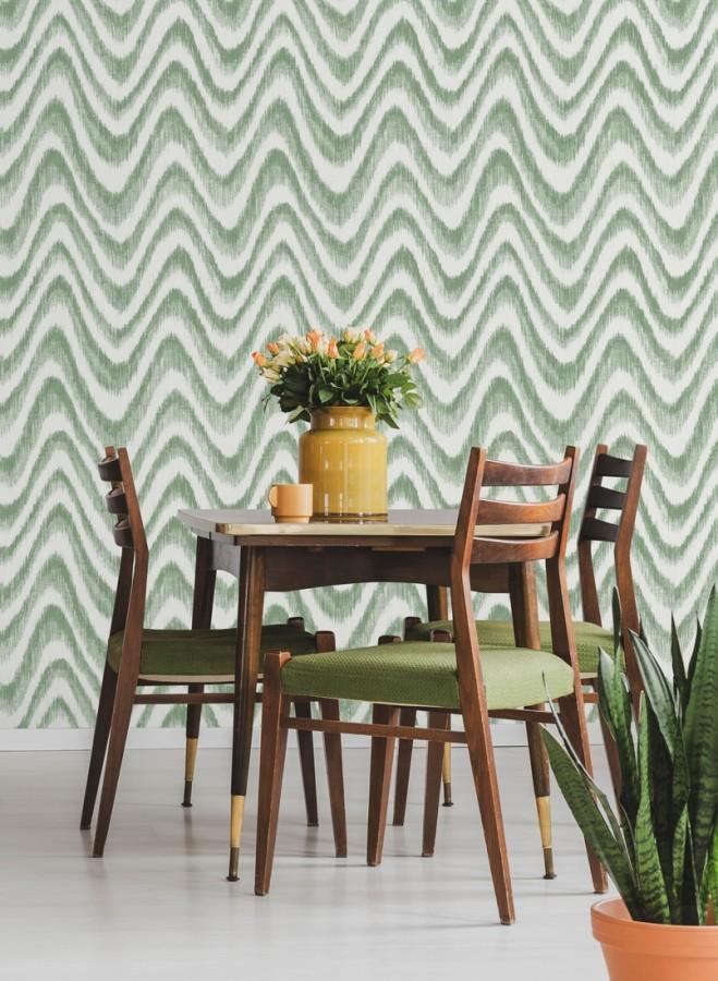 Papel pintado de ondas con degradados verde tropical Aloha 679524