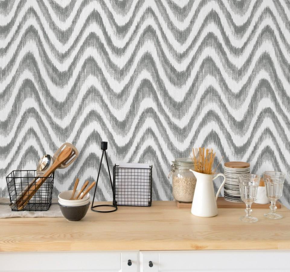Papel pintado de ondas con degradados gris Aloha 679525
