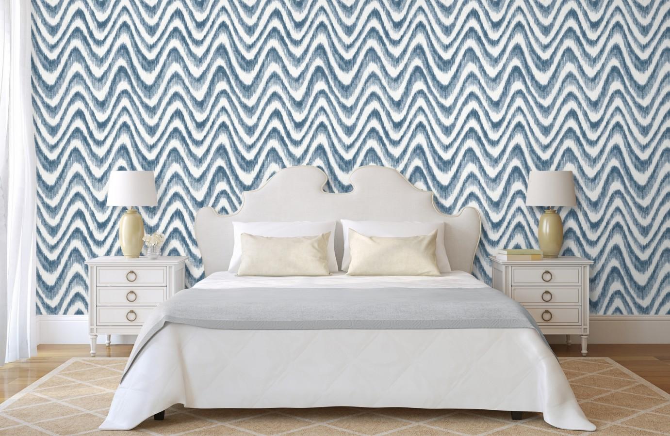 Papel pintado de ondas con degradados azul tropical Aloha 679526
