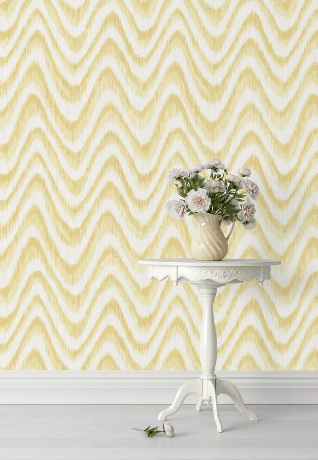 Papel pintado de ondas con degradados amarillo tropical Aloha 679527