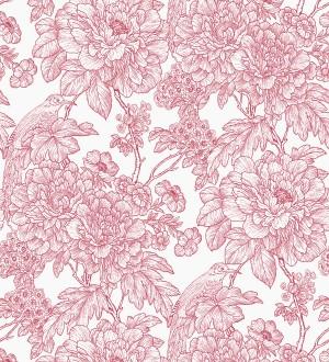 Papel pintado romántico flores y pájaros tonos rosa Bristol Flowers 679528
