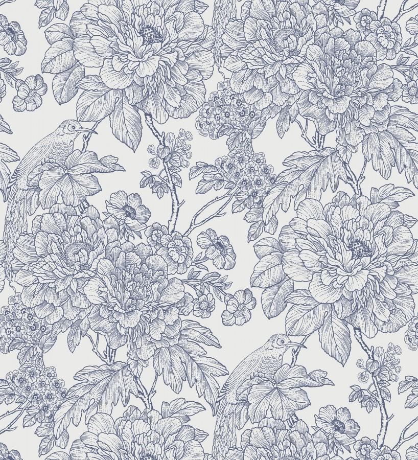 Papel pintado romántico flores y pájaros tonos azules Bristol Flowers 679529