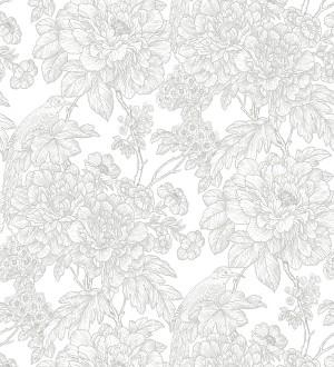 Papel pintado romántico flores y pájaros tonos gris claro Bristol Flowers 679530