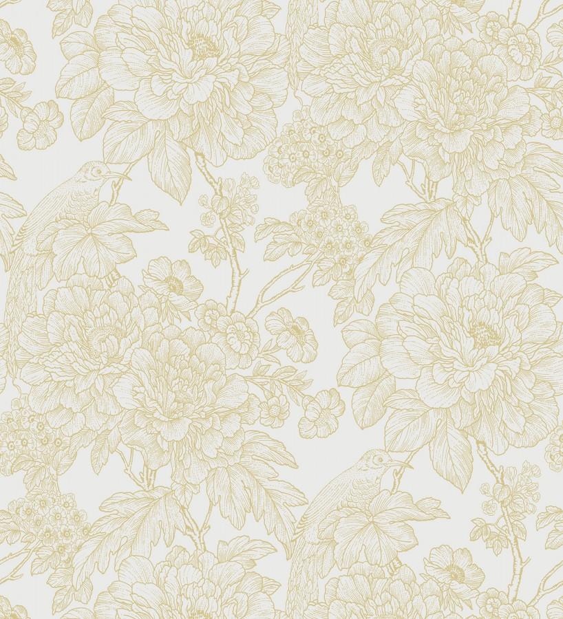 Papel pintado romántico flores y pájaros tonos beige Bristol Flowers 679531