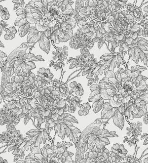 Papel pintado romántico flores y pájaros tonos gris oscuro Bristol Flowers 679532