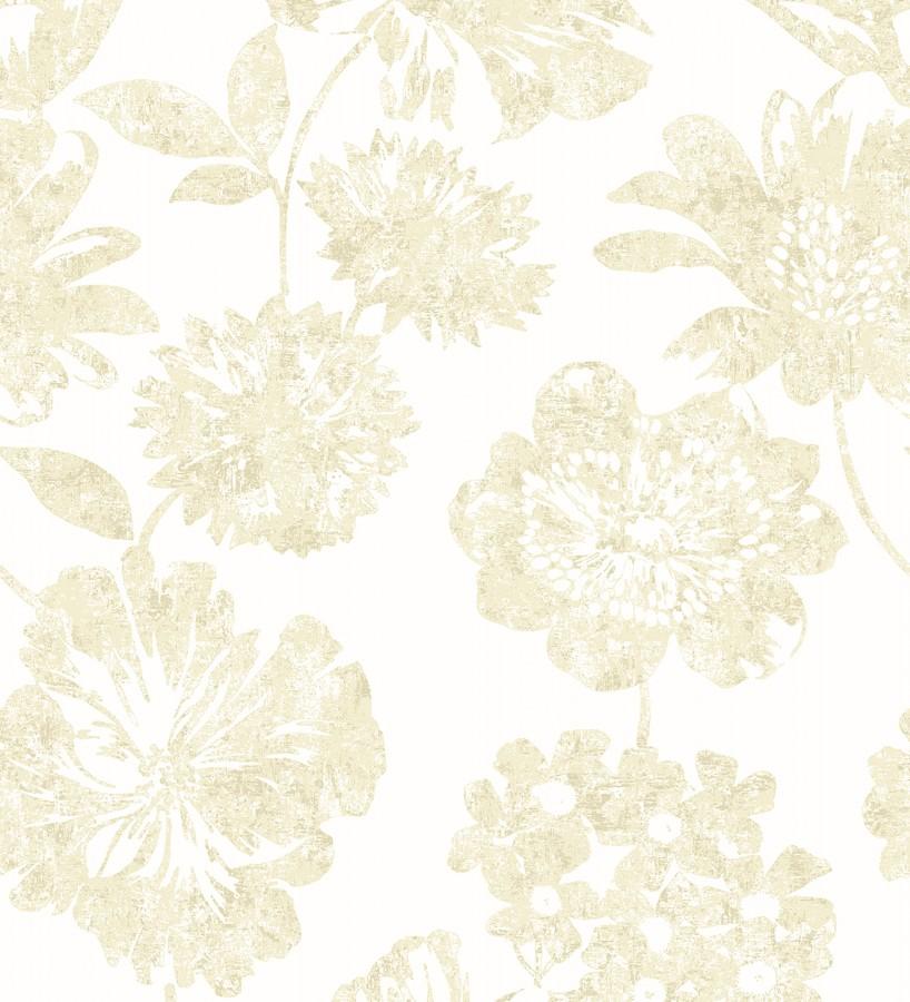 Papel pintado flores grandes estilo tropical tonos beige Maldives 679535