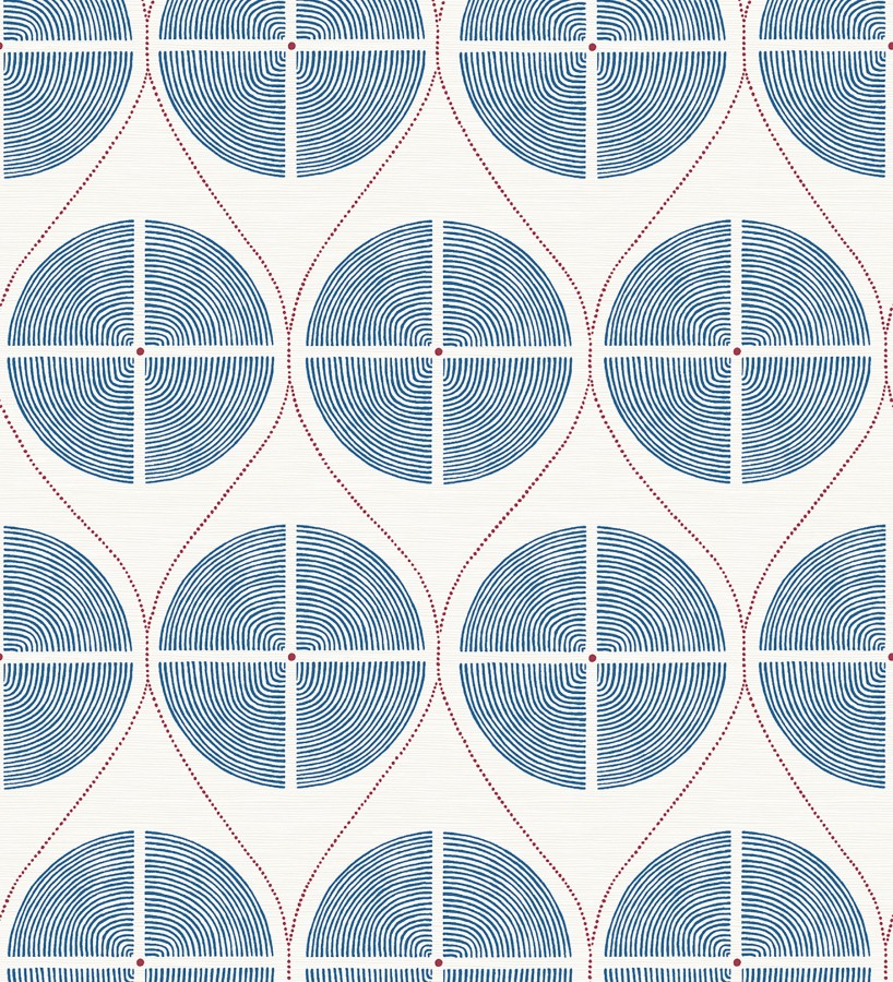 Papel pintado geométrico de círculos estilo retro tonos azules Glover 679542