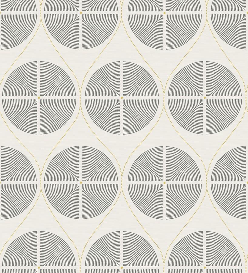 Papel pintado geométrico de círculos estilo retro tonos grises Glover 679543