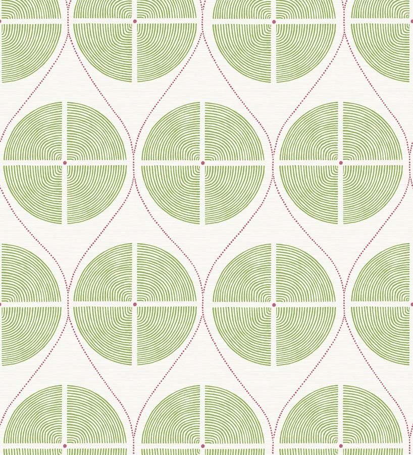 Papel pintado geométrico de círculos estilo retro tonos verdes Glover 679544