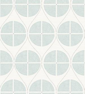 Papel pintado geométrico de círculos estilo retro tonos celestes Glover 679545