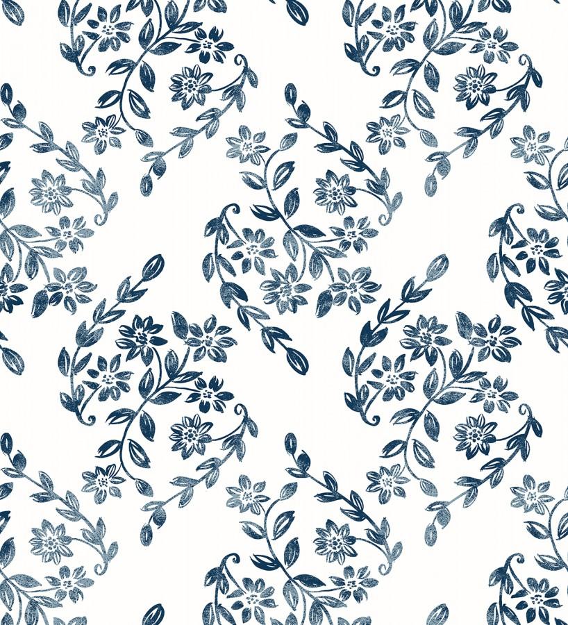 Papel pintado hojas pequeñas simétricas tonos azules Emily Garden 679546