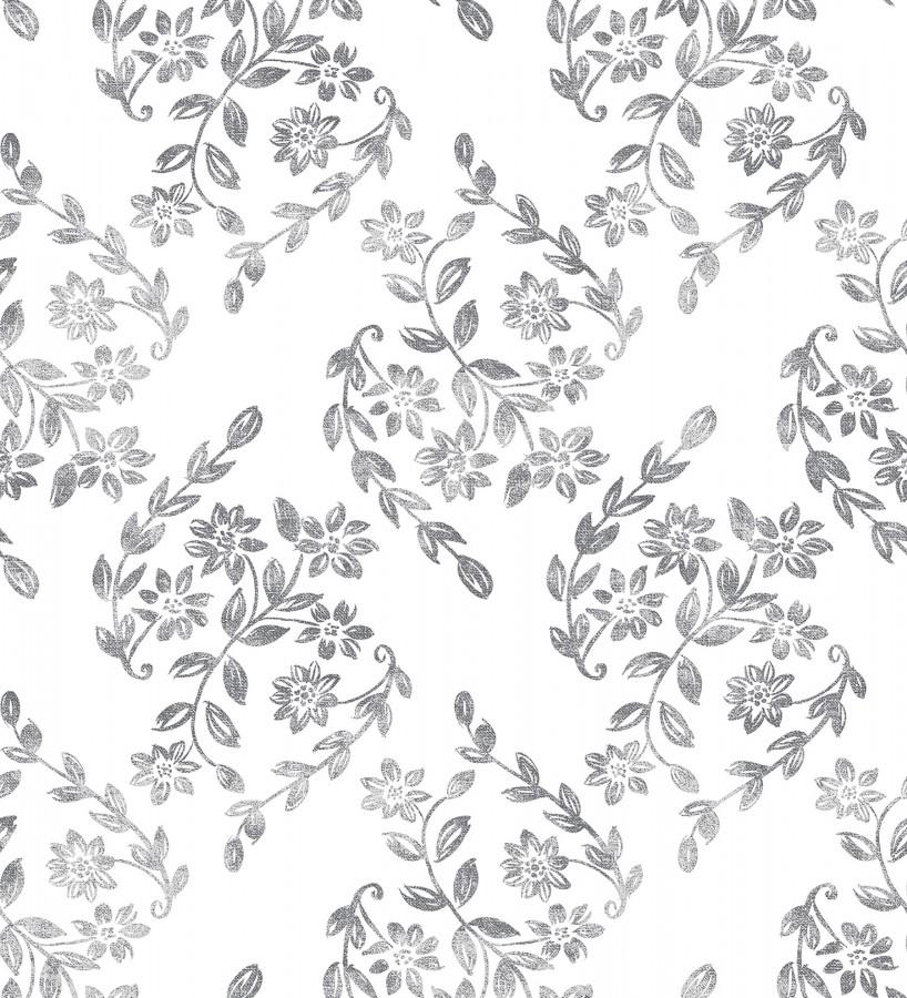 Papel pintado hojas pequeñas simétricas tonos grises Emily Garden 679547
