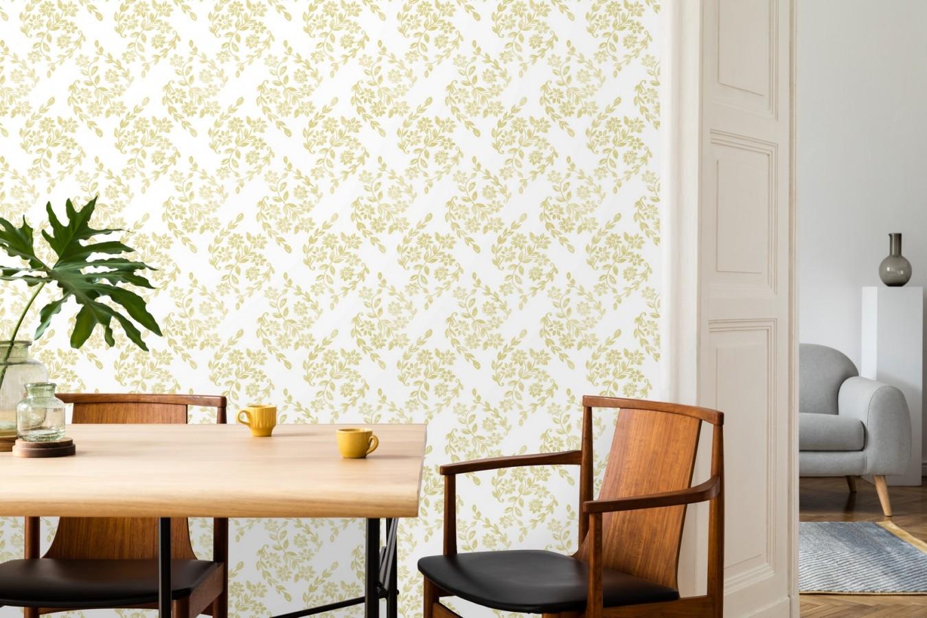 Papel pintado hojas pequeñas simétricas tonos amarillos Emily Garden 679548