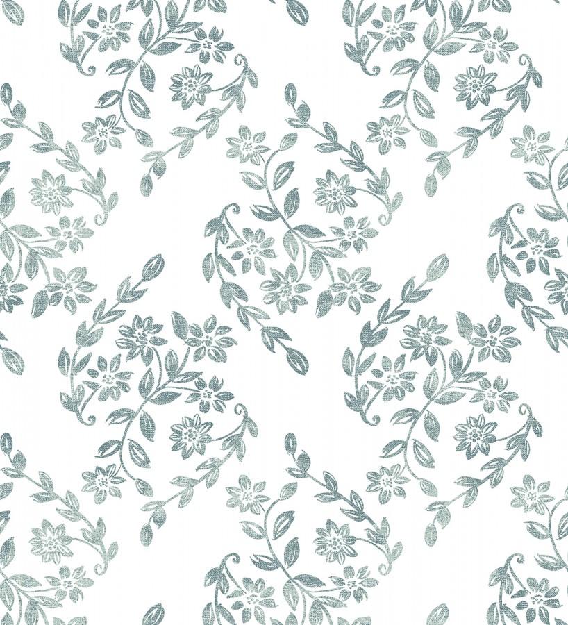 Papel pintado hojas pequeñas simétricas tonos celeste turquesa Emily Garden 679549