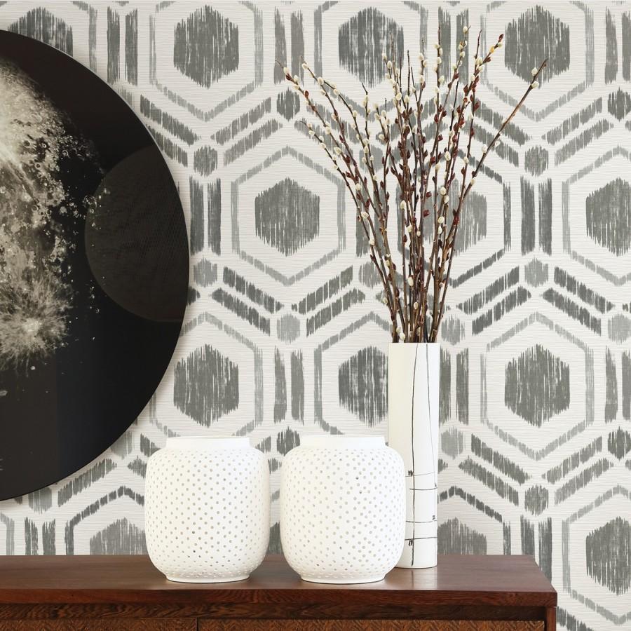 Papel pintado geométrico de hexágonos concéntricos tonos grises Hagen Etnik 679550