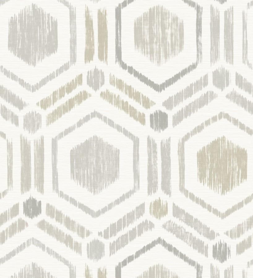 Papel pintado geométrico de hexágonos concéntricos tonos grises Hagen Etnik 679552
