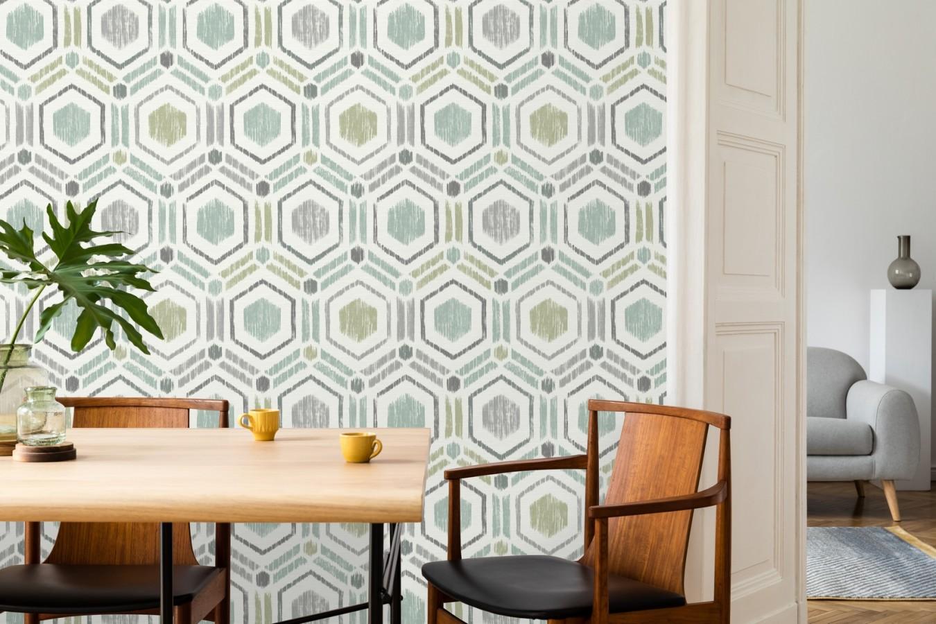 Papel pintado geométrico de hexágonos concéntricos tonos turquesa Hagen Etnik 679553
