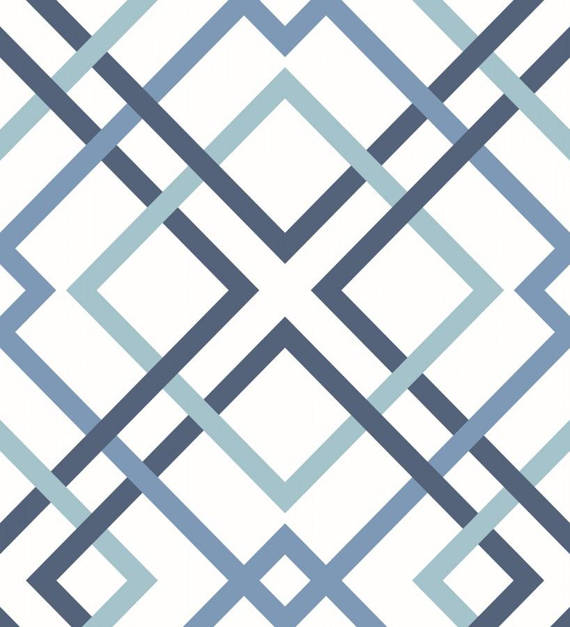 Papel pintado geométrico cuadros entrelazados estilo nórdico tonos azules Copenhagen 679554