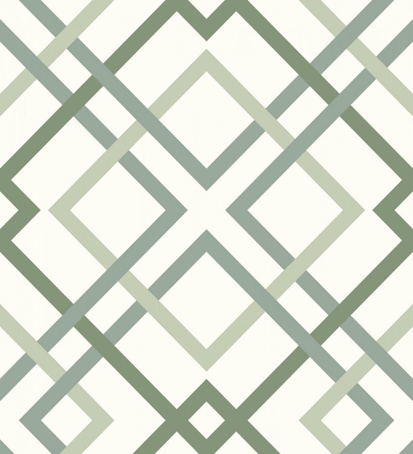 Papel pintado geométrico cuadros entrelazados estilo nórdico tonos verdes Copenhagen 679555