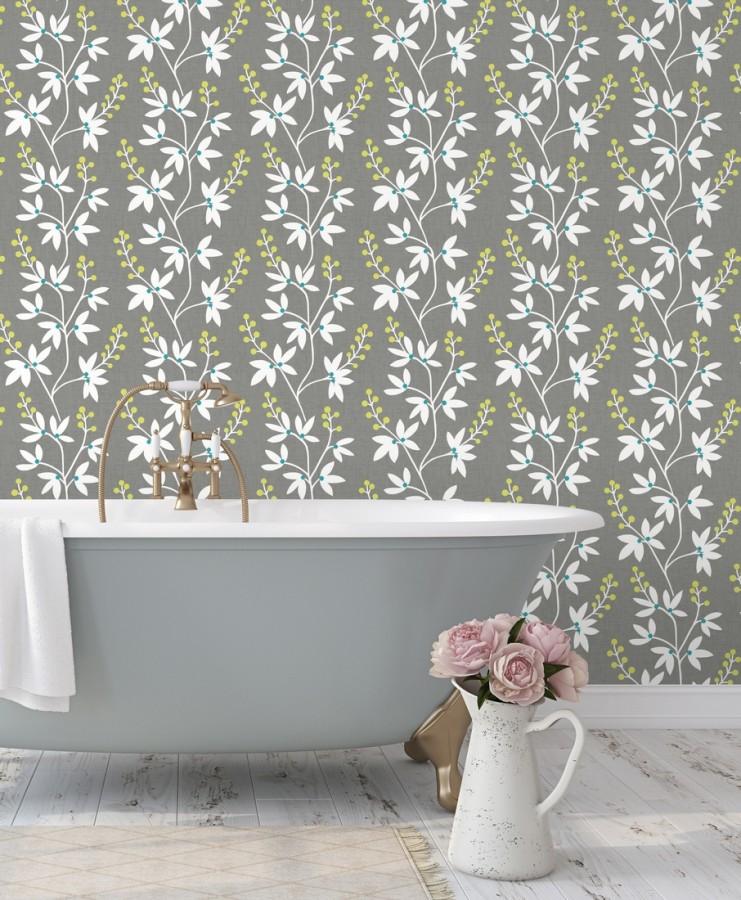 Papel pintado flores y ramas estilo nórdico Dover Garden 679559