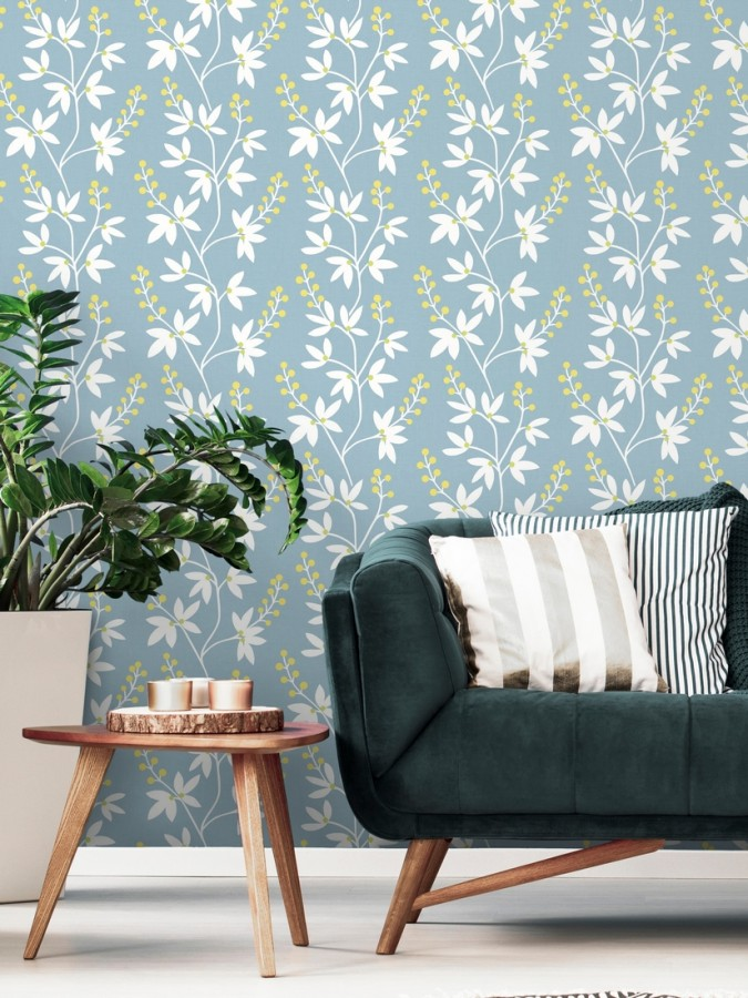Papel pintado flores y ramas estilo nórdico Dover Garden 679560