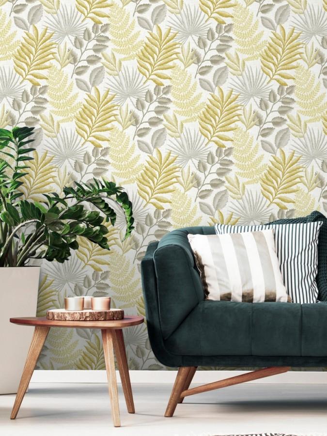 Papel pintado hojas silvestres estilo tropical Acapulco 679567